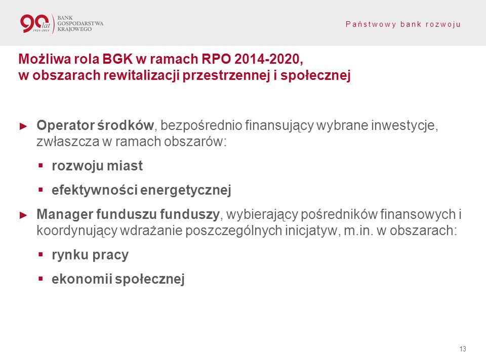 Państwowy bank rozwoju ► Operator środków, bezpośrednio finansujący wybrane inwestycje, zwłaszcza w ramach obszarów:  rozwoju miast  efektywności en