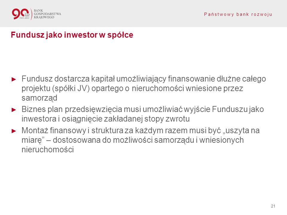 Państwowy bank rozwoju ► Fundusz dostarcza kapitał umożliwiający finansowanie dłużne całego projektu (spółki JV) opartego o nieruchomości wniesione pr