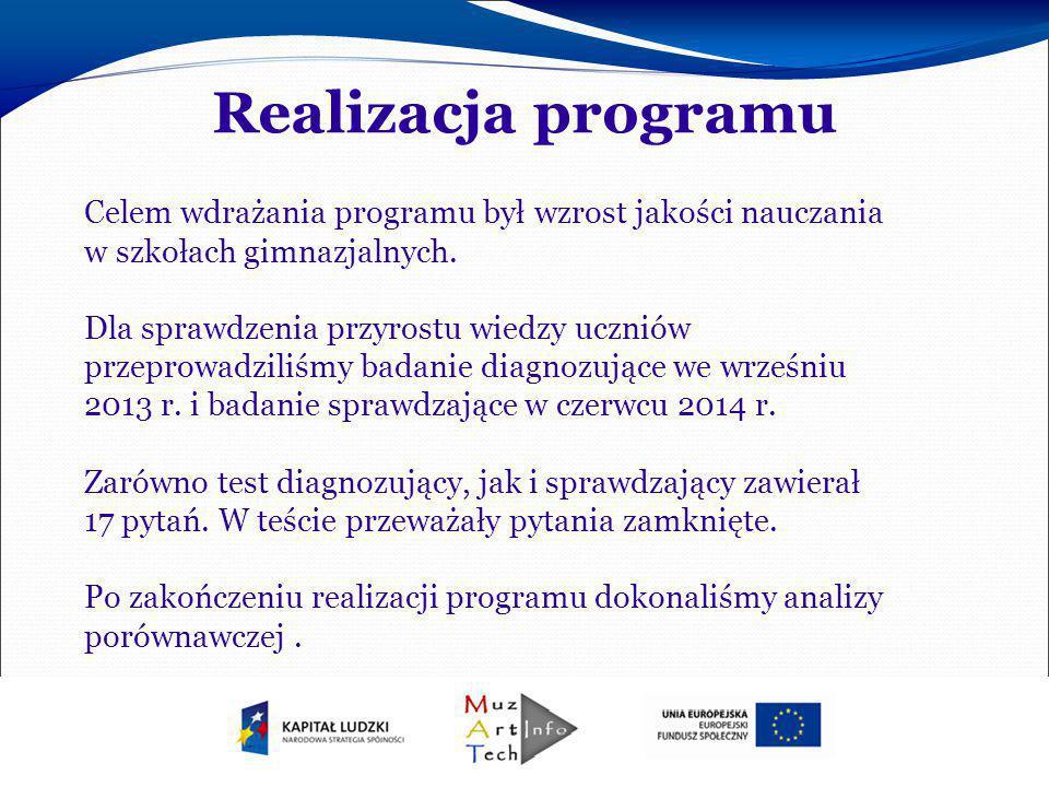 Realizacja programu Celem wdrażania programu był wzrost jakości nauczania w szkołach gimnazjalnych. Dla sprawdzenia przyrostu wiedzy uczniów przeprowa