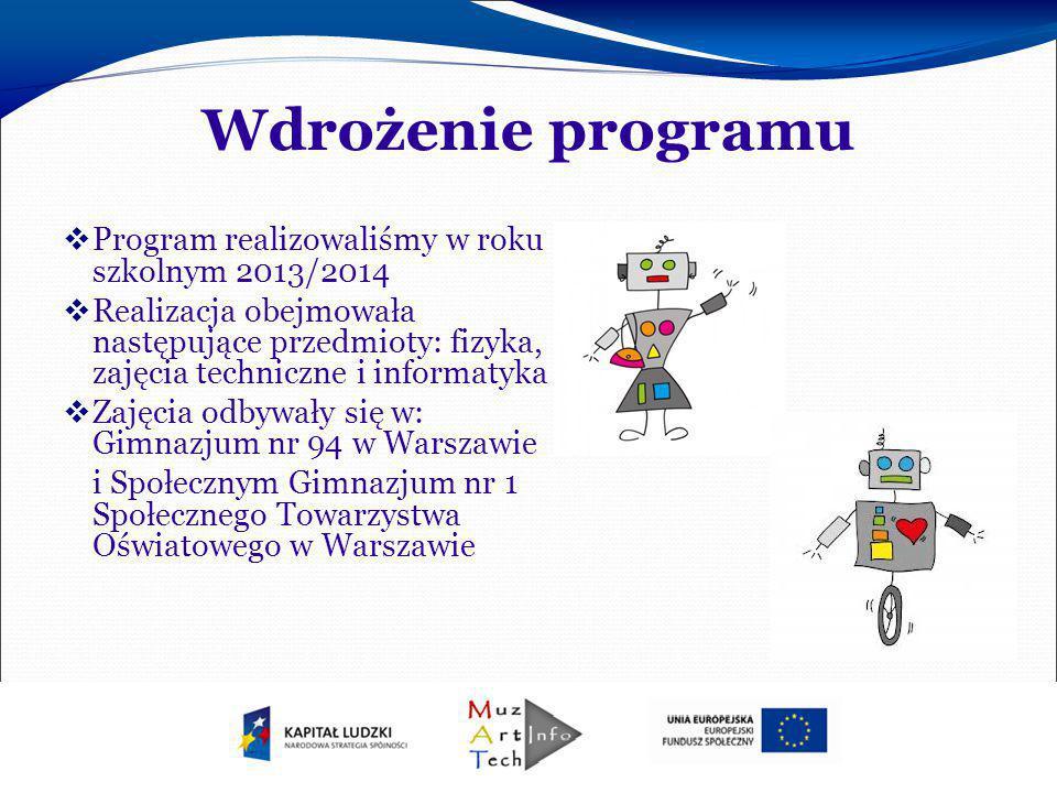 Wdrożenie programu  Program realizowaliśmy w roku szkolnym 2013/2014  Realizacja obejmowała następujące przedmioty: fizyka, zajęcia techniczne i inf