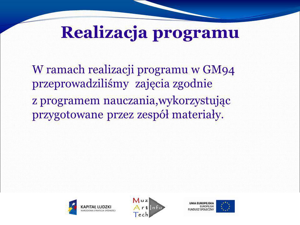 Realizacja programu W ramach realizacji programu w GM94 przeprowadziliśmy zajęcia zgodnie z programem nauczania,wykorzystując przygotowane przez zespó