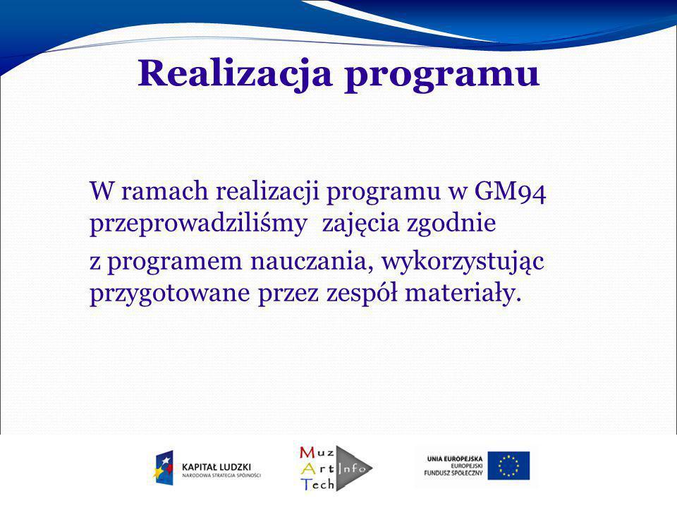 Realizacja programu W ramach realizacji programu w GM94 przeprowadziliśmy zajęcia zgodnie z programem nauczania, wykorzystując przygotowane przez zesp