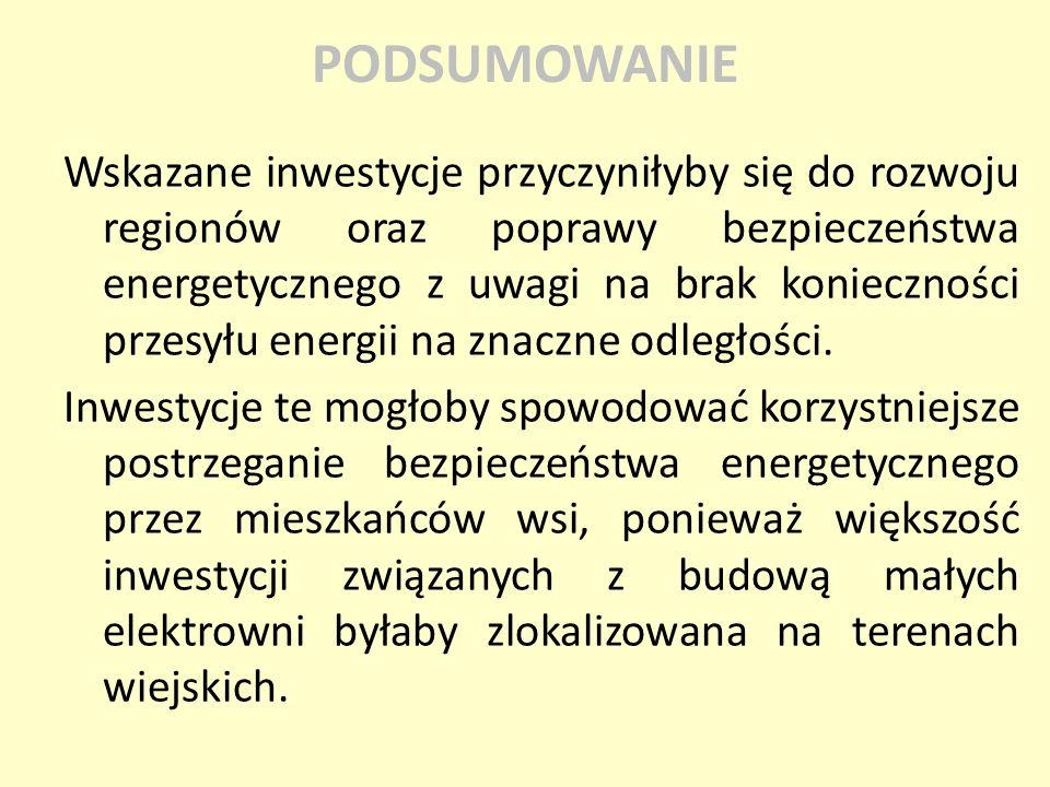Wskazane inwestycje przyczyniłyby się do rozwoju regionów oraz poprawy bezpieczeństwa energetycznego z uwagi na brak konieczności przesyłu energii na