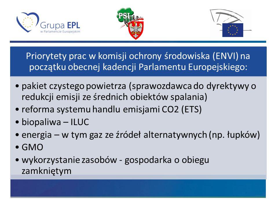 Priorytety prac w komisji ochrony środowiska (ENVI) na początku obecnej kadencji Parlamentu Europejskiego: pakiet czystego powietrza (sprawozdawca do