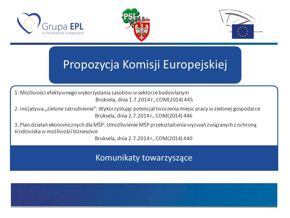 """1. Możliwości efektywnego wykorzystania zasobów w sektorze budowlanym Bruksela, dnia 1.7.2014 r., COM(2014) 445 2. Inicjatywa """"zielone zatrudnienie"""":"""