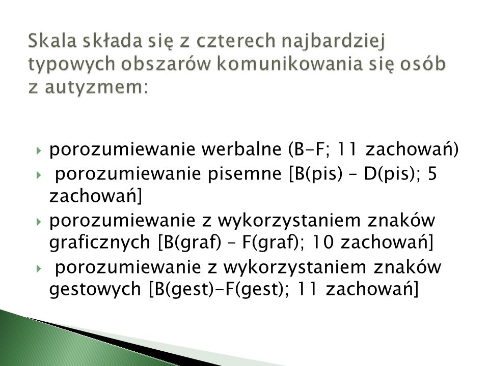  porozumiewanie werbalne (B-F; 11 zachowań)  porozumiewanie pisemne [B(pis) – D(pis); 5 zachowań]  porozumiewanie z wykorzystaniem znaków graficzny
