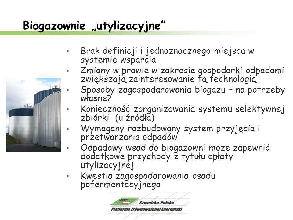 """Biogazownie """"utylizacyjne""""  Brak definicji i jednoznacznego miejsca w systemie wsparcia  Zmiany w prawie w zakresie gospodarki odpadami zwiększają z"""