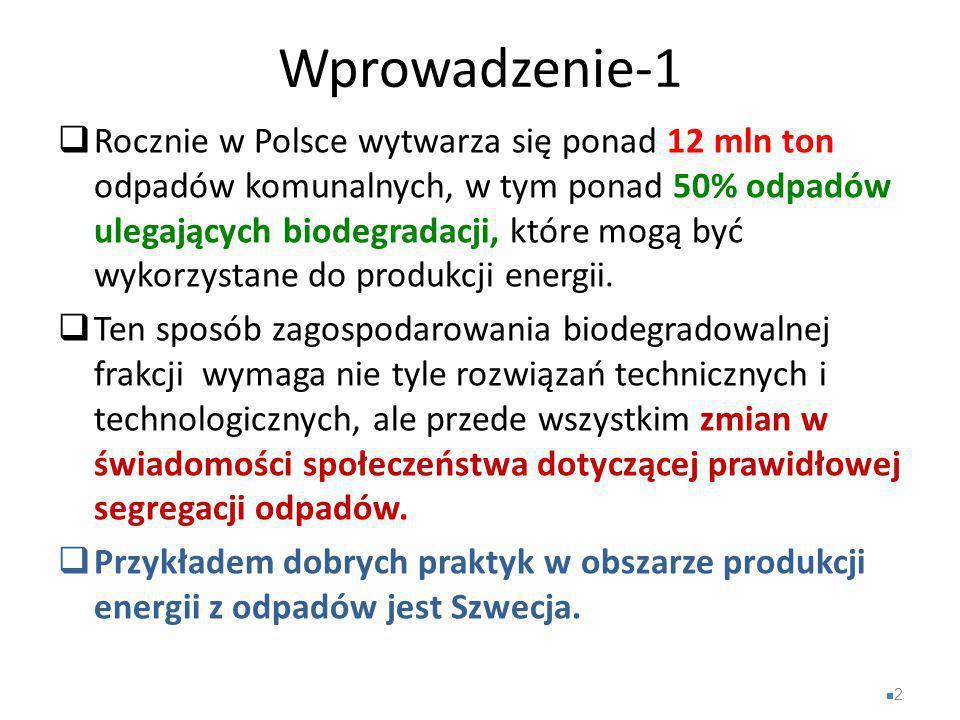 Wprowadzenie-1  Rocznie w Polsce wytwarza się ponad 12 mln ton odpadów komunalnych, w tym ponad 50% odpadów ulegających biodegradacji, które mogą być