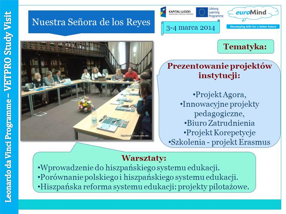Nuestra Señora de los Reyes 3-4 marca 2014 Prezentowanie projektów instytucji: Projekt Agora, Innowacyjne projekty pedagogiczne, Biuro Zatrudnienia Projekt Korepetycje Szkolenia - projekt Erasmus Warsztaty: Wprowadzenie do hiszpańskiego systemu edukacji.