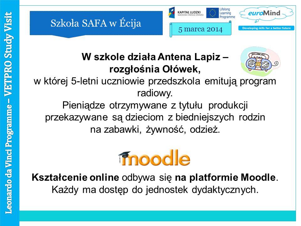 Szkoła SAFA w Écija 5 marca 2014 W szkole działa Antena Lapiz – rozgłośnia Ołówek, w której 5-letni uczniowie przedszkola emitują program radiowy.