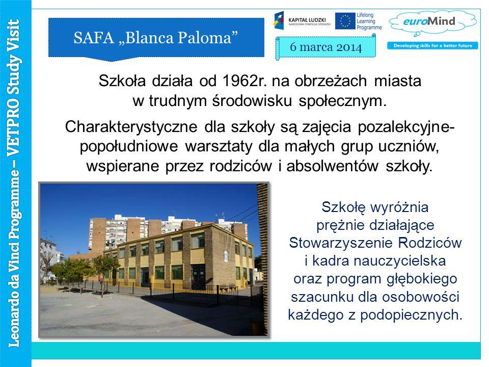 """SAFA """"Blanca Paloma 6 marca 2014 Szkoła działa od 1962r."""