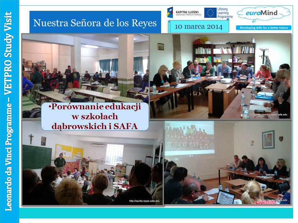 Nuestra Señora de los Reyes 10 marca 2014 Porównanie edukacji w szkołach dąbrowskich i SAFA