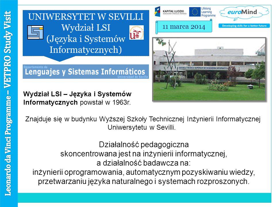 UNIWERSYTET W SEVILLI Wydział LSI (Języka i Systemów Informatycznych) 11 marca 2014 Wydział LSI – Języka i Systemów Informatycznych powstał w 1963r.