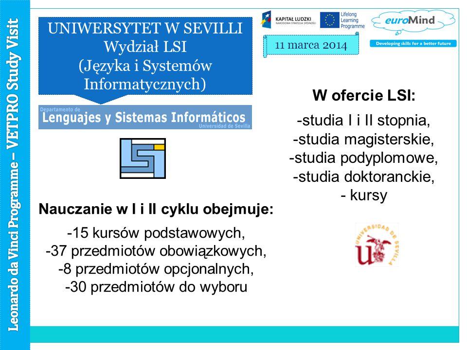 UNIWERSYTET W SEVILLI Wydział LSI (Języka i Systemów Informatycznych) 11 marca 2014 W ofercie LSI: -studia I i II stopnia, -studia magisterskie, -studia podyplomowe, -studia doktoranckie, - kursy Nauczanie w I i II cyklu obejmuje: -15 kursów podstawowych, -37 przedmiotów obowiązkowych, -8 przedmiotów opcjonalnych, -30 przedmiotów do wyboru