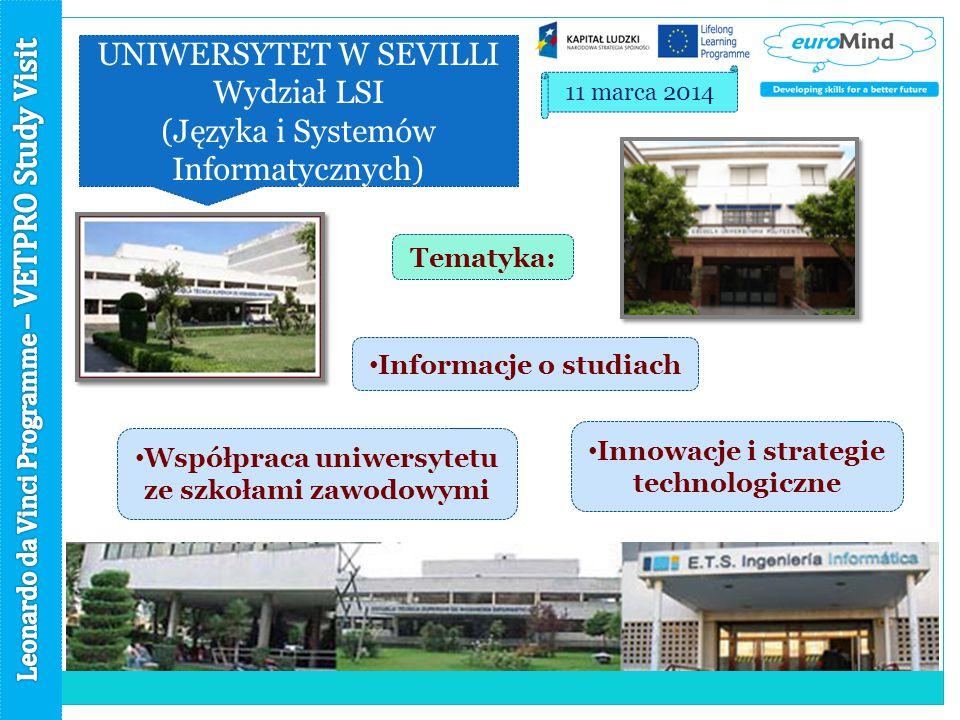 UNIWERSYTET W SEVILLI Wydział LSI (Języka i Systemów Informatycznych) 11 marca 2014 Tematyka: Informacje o studiach Innowacje i strategie technologiczne Współpraca uniwersytetu ze szkołami zawodowymi