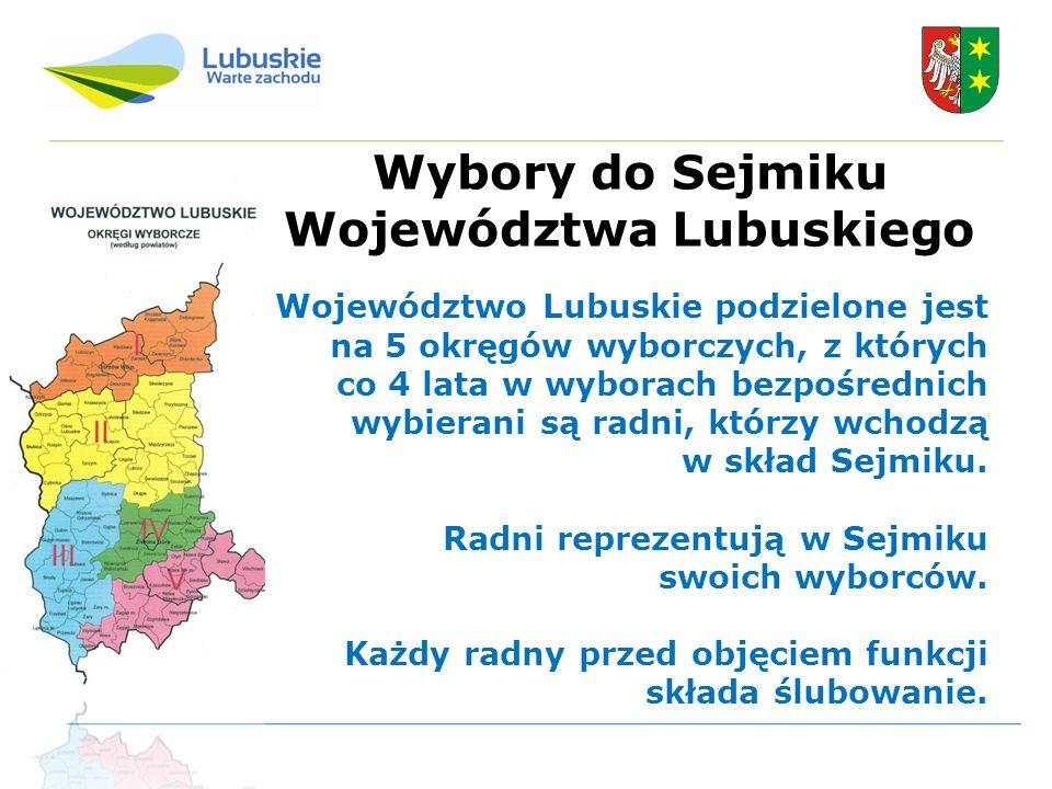 Wybory do Sejmiku Województwa Lubuskiego Województwo Lubuskie podzielone jest na 5 okręgów wyborczych, z których co 4 lata w wyborach bezpośrednich wybierani są radni, którzy wchodzą w skład Sejmiku.