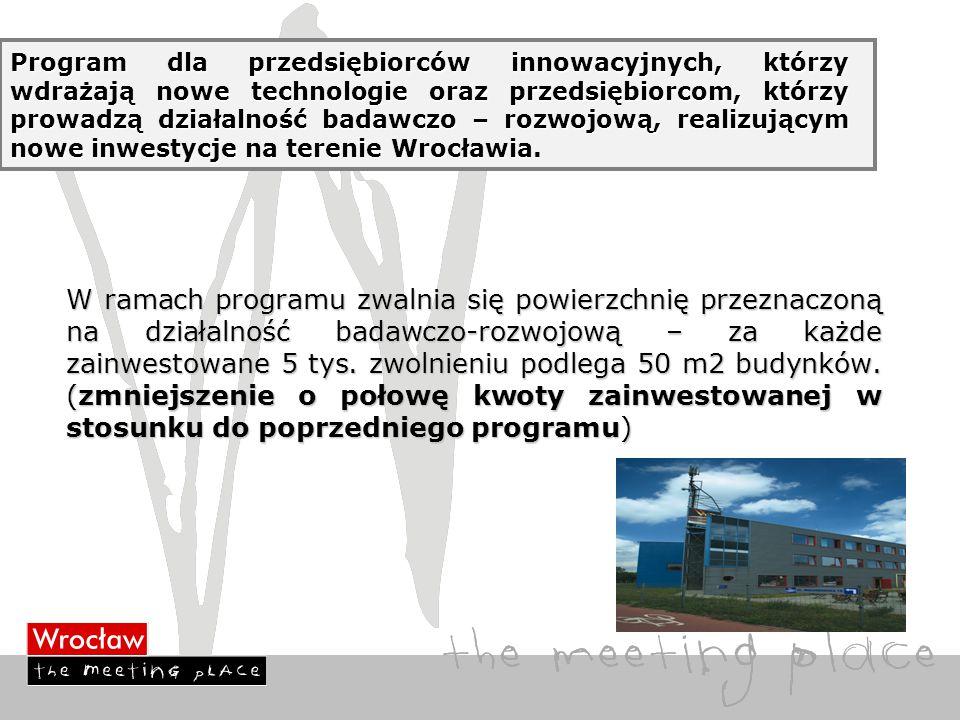 Program dla przedsiębiorców innowacyjnych, którzy wdrażają nowe technologie oraz przedsiębiorcom, którzy prowadzą działalność badawczo – rozwojową, realizującym nowe inwestycje na terenie Wrocławia.