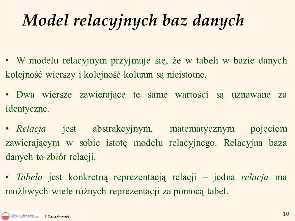 10 L.Banachowski Model relacyjnych baz danych W modelu relacyjnym przyjmuje się, że w tabeli w bazie danych kolejność wierszy i kolejność kolumn są ni