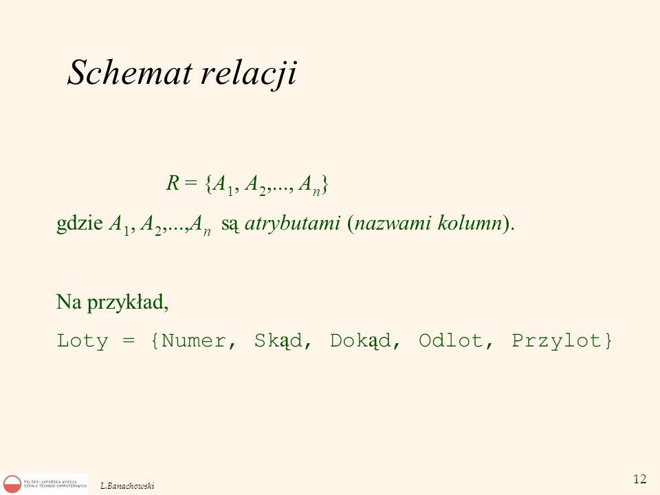 12 L.Banachowski Schemat relacji R = {A 1, A 2,..., A n } gdzie A 1, A 2,...,A n są atrybutami (nazwami kolumn). Na przykład, Loty = {Numer, Sk ą d, D