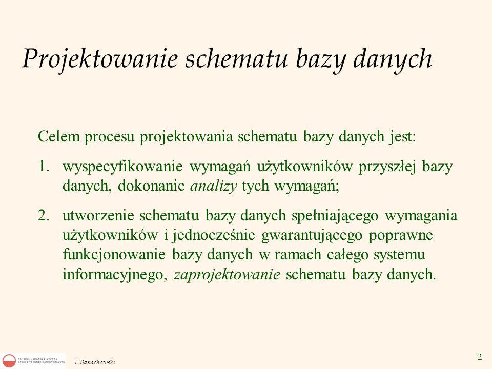2 L.Banachowski Projektowanie schematu bazy danych Celem procesu projektowania schematu bazy danych jest: 1.wyspecyfikowanie wymagań użytkowników przy