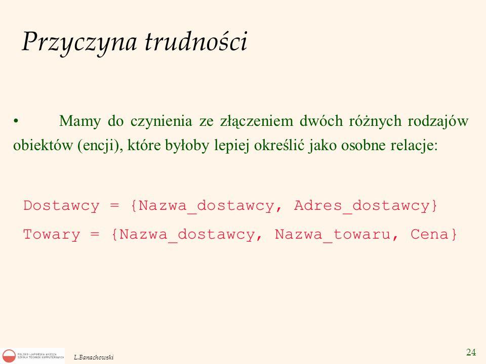 24 L.Banachowski Przyczyna trudności Mamy do czynienia ze złączeniem dwóch różnych rodzajów obiektów (encji), które byłoby lepiej określić jako osobne