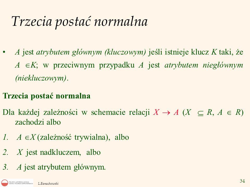 34 L.Banachowski Trzecia postać normalna A jest atrybutem głównym (kluczowym) jeśli istnieje klucz K taki, że A  K; w przeciwnym przypadku A jest atr