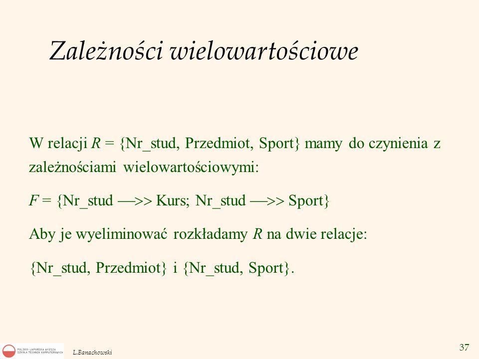 37 L.Banachowski Zależności wielowartościowe W relacji R = {Nr_stud, Przedmiot, Sport} mamy do czynienia z zależnościami wielowartościowymi: F = {Nr_s