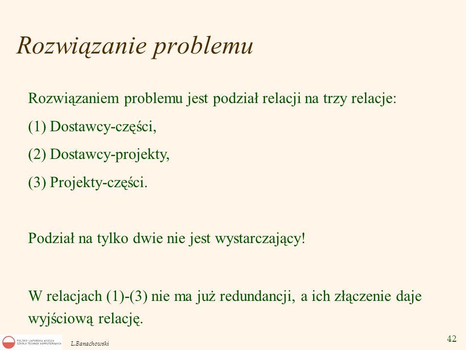 42 L.Banachowski Rozwiązanie problemu Rozwiązaniem problemu jest podział relacji na trzy relacje: (1) Dostawcy-części, (2) Dostawcy-projekty, (3) Proj