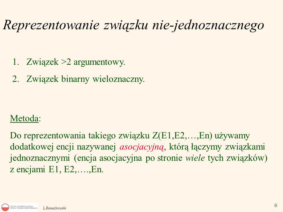 6 L.Banachowski Reprezentowanie związku nie-jednoznacznego 1.Związek >2 argumentowy. 2.Związek binarny wieloznaczny. Metoda: Do reprezentowania takieg