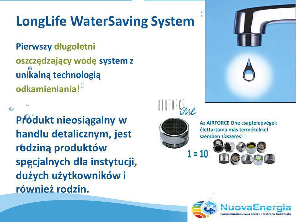 LongLife WaterSaving System Pierwszy długoletni oszczędzający wodę system z unikalną technologią odkamieniania.