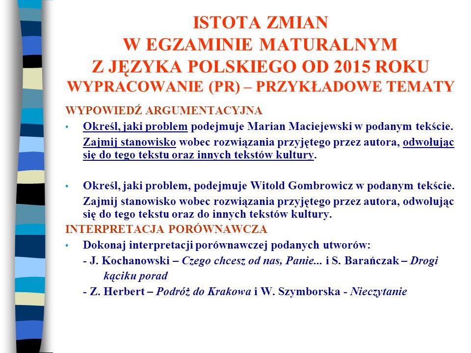 ISTOTA ZMIAN W EGZAMINIE MATURALNYM Z JĘZYKA POLSKIEGO OD 2015 ROKU WYPRACOWANIE (PR) – PRZYKŁADOWE TEMATY WYPOWIEDŹ ARGUMENTACYJNA Określ, jaki problem podejmuje Marian Maciejewski w podanym tekście.