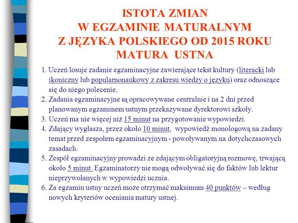 ISTOTA ZMIAN W EGZAMINIE MATURALNYM Z JĘZYKA POLSKIEGO OD 2015 ROKU MATURA USTNA 1.