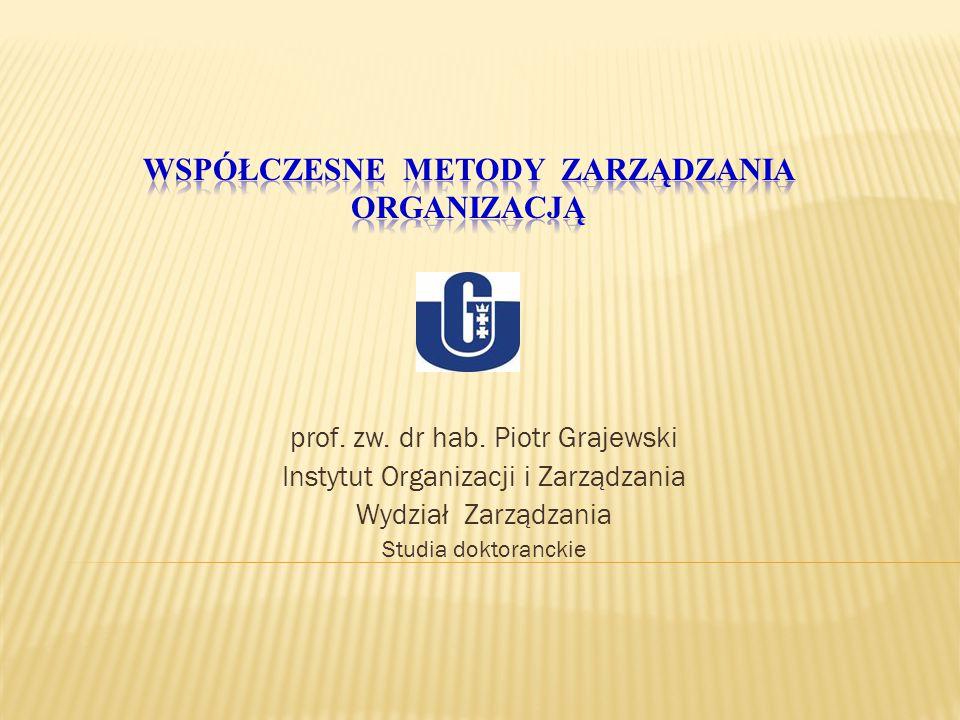 prof. zw. dr hab. Piotr Grajewski Instytut Organizacji i Zarządzania Wydział Zarządzania Studia doktoranckie