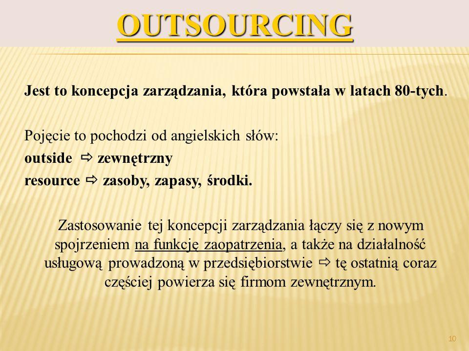 prof.dr hab. Piotr Grajewski 10OUTSOURCING Jest to koncepcja zarządzania, która powstała w latach 80-tych. Pojęcie to pochodzi od angielskich słów: ou