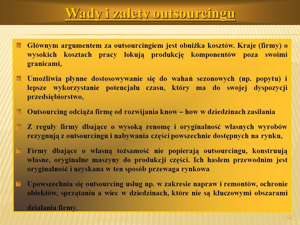 prof.dr hab. Piotr Grajewski 12 Wady i zalety outsourcingu Głównym argumentem za outsourcingiem jest obniżka kosztów. Kraje (firmy) o wysokich kosztac