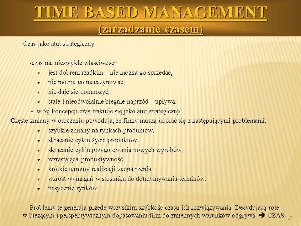 17 TIME BASED MANAGEMENT (zarządzanie czasem) Czas jako atut strategiczny. -czas ma niezwykłe właściwości: jest dobrem rzadkim – nie można go sprzedać
