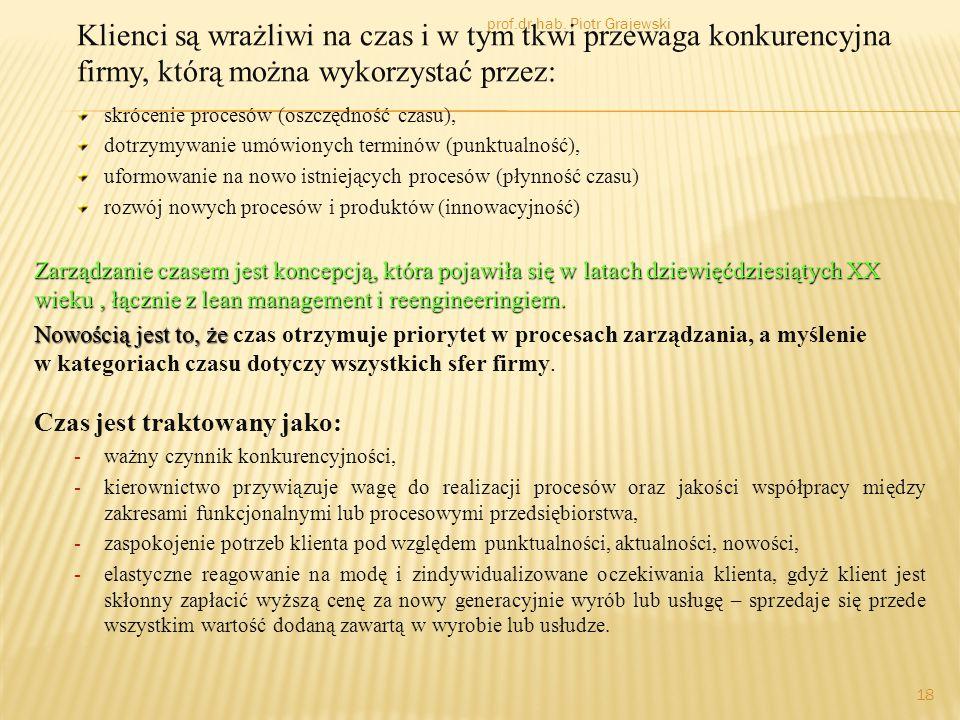 prof.dr hab. Piotr Grajewski 18 Klienci są wrażliwi na czas i w tym tkwi przewaga konkurencyjna firmy, którą można wykorzystać przez: skrócenie proces