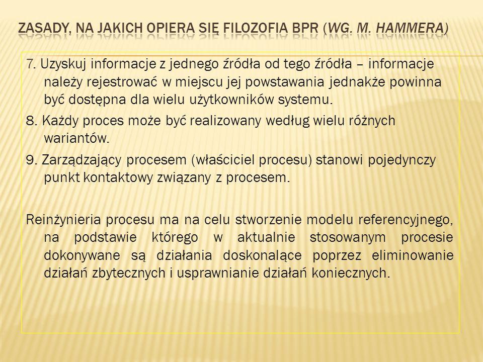 7. Uzyskuj informacje z jednego źródła od tego źródła – informacje należy rejestrować w miejscu jej powstawania jednakże powinna być dostępna dla wiel