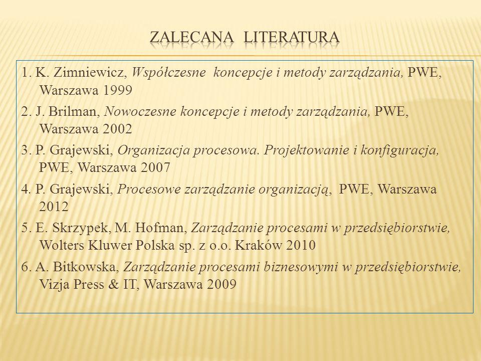1. K. Zimniewicz, Współczesne koncepcje i metody zarządzania, PWE, Warszawa 1999 2. J. Brilman, Nowoczesne koncepcje i metody zarządzania, PWE, Warsza