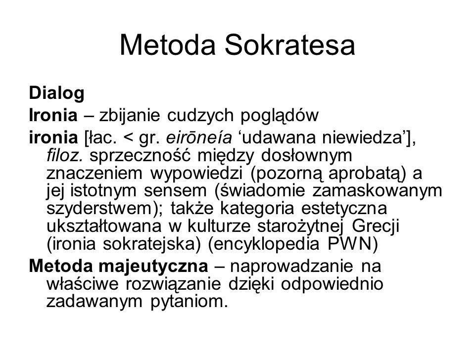 Metoda Sokratesa Dialog Ironia – zbijanie cudzych poglądów ironia [łac. < gr. eirōneía 'udawana niewiedza'], filoz. sprzeczność między dosłownym znacz