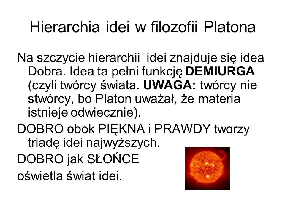 Hierarchia idei w filozofii Platona Na szczycie hierarchii idei znajduje się idea Dobra. Idea ta pełni funkcję DEMIURGA (czyli twórcy świata. UWAGA: t