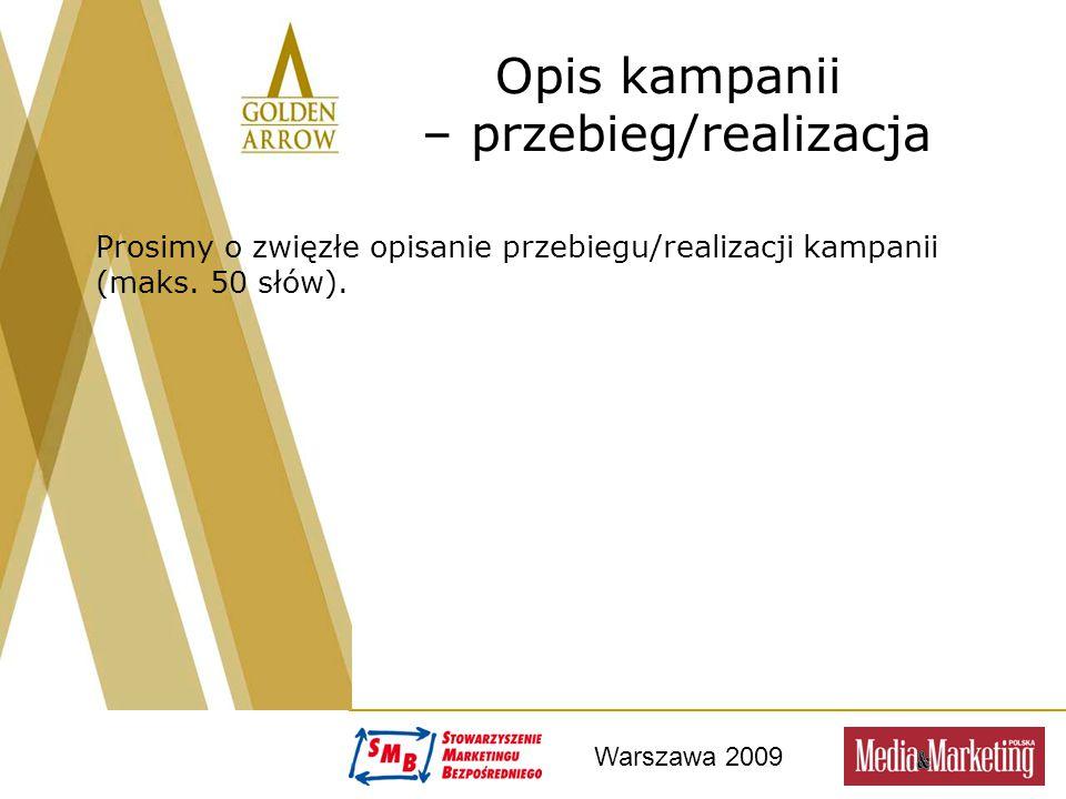 Warszawa 2009 Opis kampanii – przebieg/realizacja Prosimy o zwięzłe opisanie przebiegu/realizacji kampanii (maks. 50 słów) .
