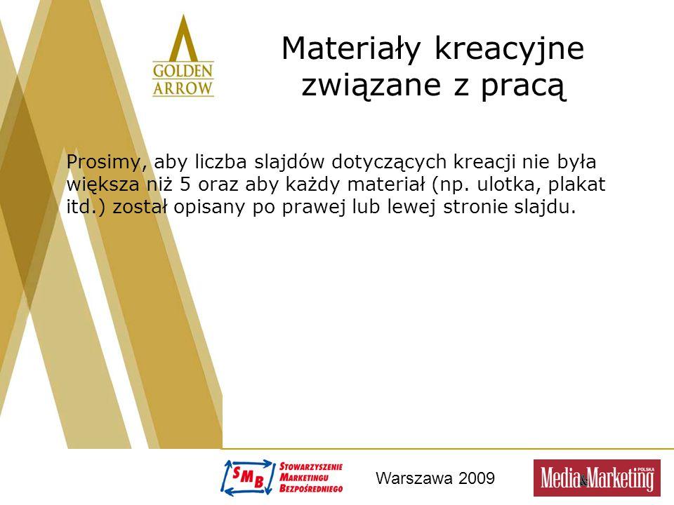 Warszawa 2009 Materiały kreacyjne związane z pracą Prosimy, aby liczba slajdów dotyczących kreacji nie była większa niż 5 oraz aby każdy materiał (np.