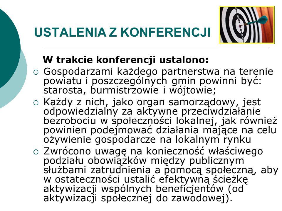 USTALENIA Z KONFERENCJI W trakcie konferencji ustalono:  Gospodarzami każdego partnerstwa na terenie powiatu i poszczególnych gmin powinni być: staro