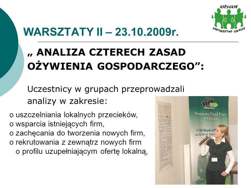 """WARSZTATY II – 23.10.2009r. """" ANALIZA CZTERECH ZASAD OŻYWIENIA GOSPODARCZEGO"""": Uczestnicy w grupach przeprowadzali analizy w zakresie: o uszczelniania"""