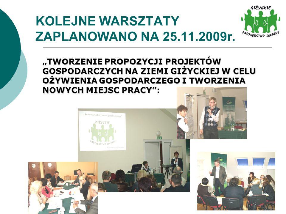 KOLEJNE WARSZTATY ZAPLANOWANO NA 25.11.2009r. TWORZENIE PROPOZYCJI PROJEKTÓW GOSPODARCZYCH NA ZIEMI GIŻYCKIEJ W CELU OŻYWIENIA GOSPODARCZEGO I TWORZEN