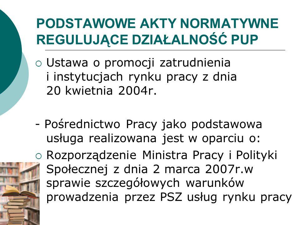 PODSTAWOWE AKTY NORMATYWNE REGULUJĄCE DZIAŁALNOŚĆ PUP  Ustawa o promocji zatrudnienia i instytucjach rynku pracy z dnia 20 kwietnia 2004r. - Pośredni