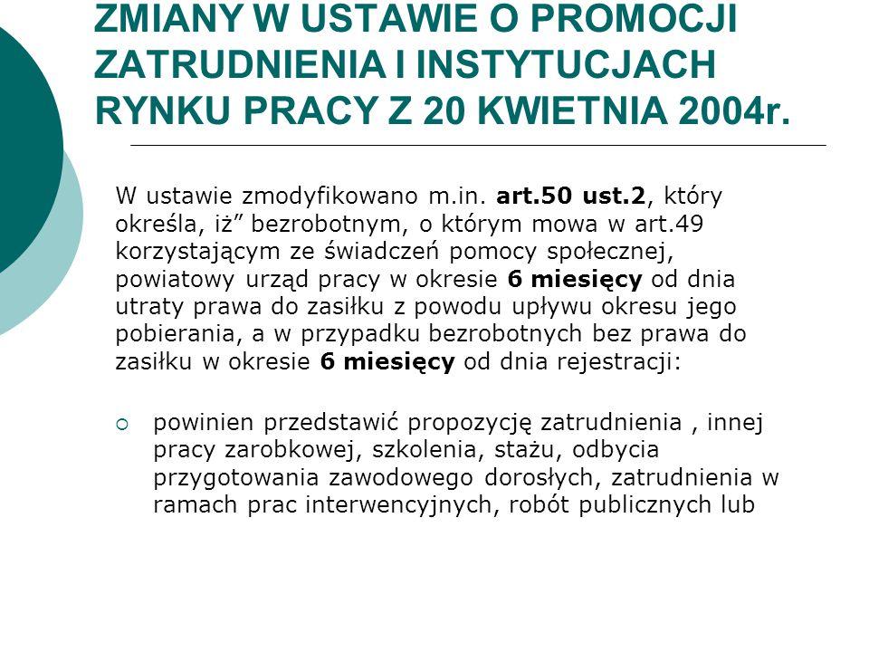 ZMIANY W USTAWIE O PROMOCJI ZATRUDNIENIA I INSTYTUCJACH RYNKU PRACY Z 20 KWIETNIA 2004r. W ustawie zmodyfikowano m.in. art.50 ust.2, który określa, iż