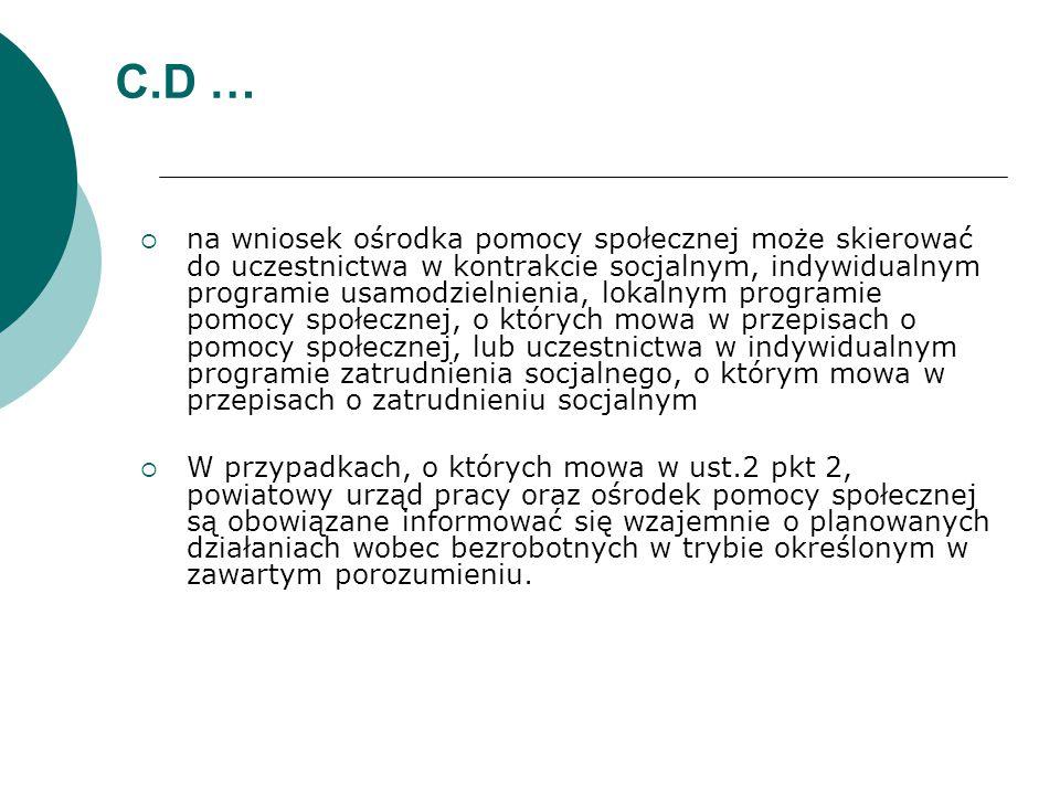 C.D …  na wniosek ośrodka pomocy społecznej może skierować do uczestnictwa w kontrakcie socjalnym, indywidualnym programie usamodzielnienia, lokalnym