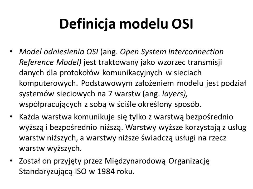 Definicja modelu OSI Model odniesienia OSI (ang. Open System Interconnection Reference Model) jest traktowany jako wzorzec transmisji danych dla proto
